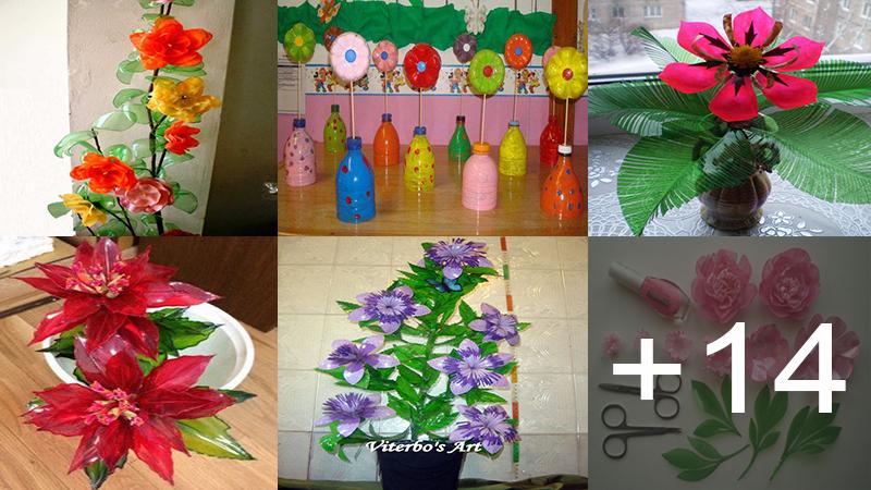 Hacer estas hermosos flores de botellas plásticas
