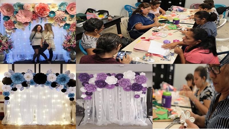 hacer fondos de fiestas con cortinas y flores de papel gigantes