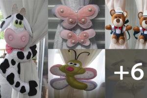Muñecos cierre de cortina hechos de fieltro con patrones